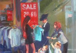 Shapovalov Olga. Shopping ( 40x70 см / холст / авторская техника / 2018 г. )