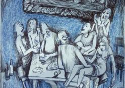 Канищев Владимир. Пир во время чумы ( 20x20 см / бумага / карандаш / 2020 г. )