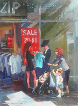 Shapovalov Olga. Shopping ( 40x70 см / холст / авторская техника / 2018 г. )