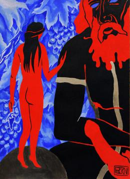 "Plotkin Dmitry. SOLOMON AND SHULAMITH - series ""BIBLICAL EROS""   ( 29x43 см / бумага / темпера / 2018 г. )"