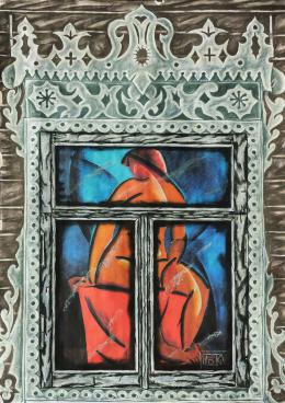 "Plotkin Dmitry. TATLIN V.E. - series ""WINDOWS OF THE RUSSIAN AVANGUARD"" ( 80x120 см / бумага / пастель / 2016 г. )"