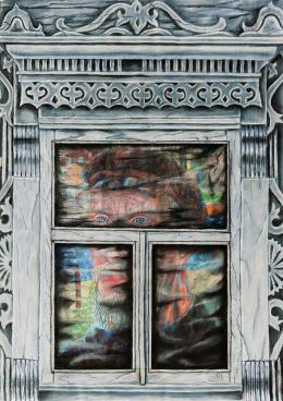 "Plotkin Dmitry. PHILONOV PN - series ""WINDOWS OF THE RUSSIAN АVANGUARD"" ( 80x120 см / бумага / пастель / 2016 г. )"