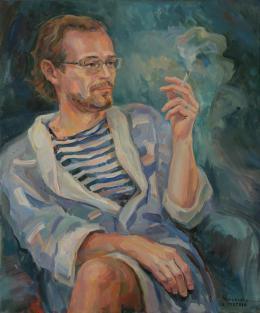 L.Zeltser Alexandra. LA CIGARETTE DU MATIN ( 50x60 см / холст / масло / 2015 г. )