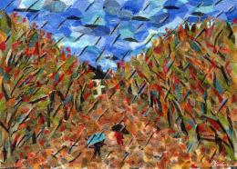 Gershman Marina. Autumn ( 18x13 см / ткань / авторская техника / 2008 г. )