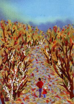 Gershman Marina. Autumn in the Park ( 13x18 см / ткань / авторская техника / 2009 г. )