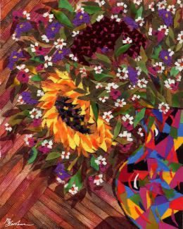 Gershman Marina. Bouquet with a Sunflower ( 20x25 см / ткань / авторская техника / 2008 г. )