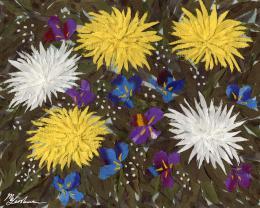 Gershman Marina. Chrysanthemums and Irises ( 25x20 см / ткань / авторская техника / 2007 г. )