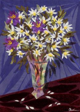 Gershman Marina. Daisies ( 13x18 см / ткань / авторская техника / 2009 г. )