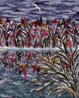Gershman Marina. Frozen Lake ( 20x25 см / ткань / авторская техника / 2009 г. )