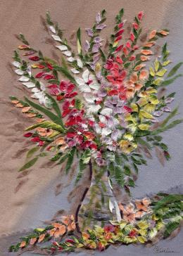 Gershman Marina. Gladioli ( 13x18 см / ткань / авторская техника / 2012 г. )