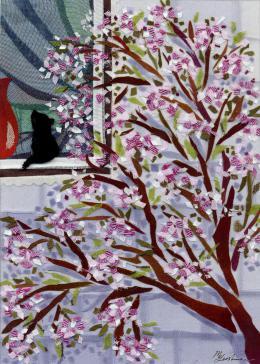 Gershman Marina. In Bloom ( 13x18 см / ткань / авторская техника / 2010 г. )