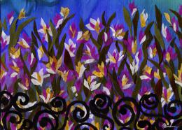 Gershman Marina. Irises ( 18x13 см / ткань / авторская техника / 2009 г. )