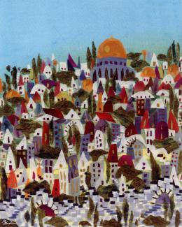 Gershman Marina. Jerusalem ( 20x25 см / ткань / авторская техника / 2011 г. )
