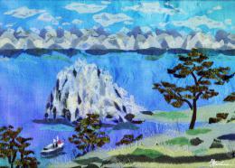 Gershman Marina. Lake Baikal ( 18x13 см / ткань / авторская техника / 2012 г. )