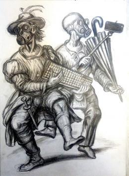 Михайлов Сергей. Пандемия ( 30x42 см / бумага / карандаш / 2020 г. )