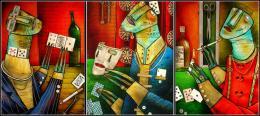 Буньков Сергей. без названия ( 210x70 см / стекло / авторская техника )