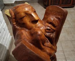 Фирер Олег. Моисей со скрижалями ( пятый разворот ) ( 55x60 см / дерево / 2021 г. )