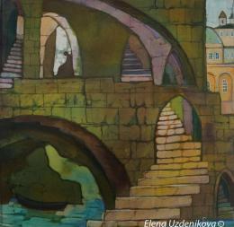 Uzdenikova Elena. Underground Jerusalem from series Labyrinth of the old city ( 30x30 см / шелк / батик / 2015 г. )