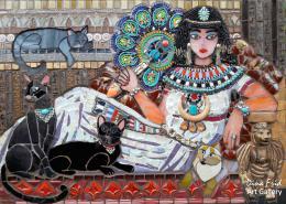Фрид Дина. Богиня котов ( 70x50 см / стекло / мозаика / 2017 г. )