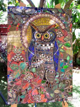 Фрид Дина. Ночная птица ( 45x65 см / смешанный / мозаика / 2016 г. )