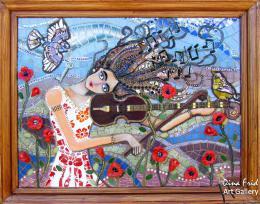 Фрид Дина. Виола - музыка ветра ( 80x60 см / стекло / мозаика / 2016 г. )