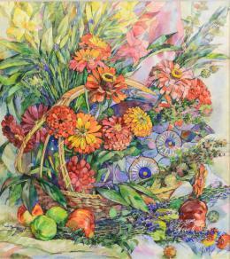 Sonkina Yael-Natali. Цветочная симфония ( 59x54 см / бумага / акварель / 2016 г. )
