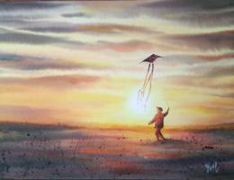 Sonkina Yael-Natali. Солнечный ветер ( бумага / акварель / 2017 г. )
