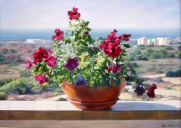 Bukhin Maya. Flowers on the balcony (Ashkelon).  ( 70x50 см / холст / масло / 2003 г. )