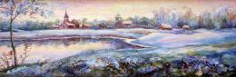 Bukhin Maya. Winter evening...  ( 45x15 см / береста / масло / 2009 г. )
