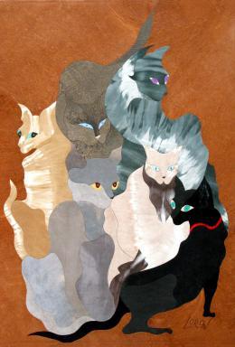 Verhovsky Lora. Just Cats ( 94x135 см / другое / авторская техника )