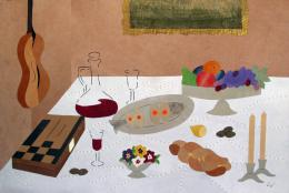 Verhovsky Lora. Jewish Table ( 120x79 см / другое / авторская техника )