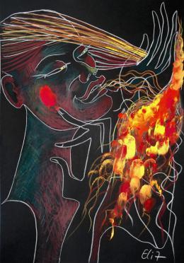 Nesis Elisheva . Dactyloscopic nocturne. INNER FIRE / Внутреннее пламя ( 23x33 см / бумага / смешанная техника / 2017 г. )