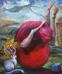 Nesis Elisheva . POOR FOOL on the BALL / Дурочка на шаре ( 60x70 см / холст / 2017 г. )
