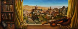 Гуревич Эдуард. Старый Иерусалим. Вид на Храмовую Гору.  ( 122x45 см / холст / масло / 2003 г. )