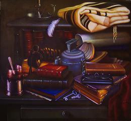 Гуревич Эдуард. Натюрморт с чаем.  ( 50x50 см / холст / масло / 2003 г. )