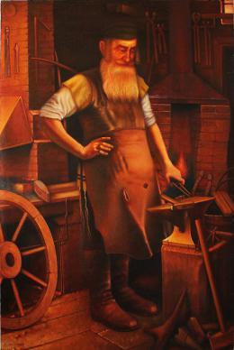 Гуревич Эдуард. Еврейский кузнец из штетла. ( 80x120 см / холст / масло / 2003 г. )