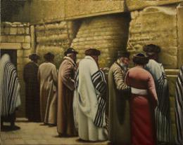 Гуревич Эдуард. Старый Иерусалим. Паломники возле Западной Стены. ( 51x40 см / холст / масло / 2016 г. )