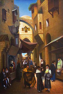 Гуревич Эдуард. Старый Иерусалим. Еврейский квартал. ( 80x120 см / холст / масло / 2010 г. )