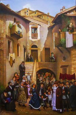 Гуревич Эдуард.  Старый Вильнюс. Еврейская свадьба. ( 80x120 см / холст / масло / 2005 г. )