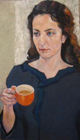 Meshulam Lemkovitch Lubov. Portrait of young woman with cup of tea ( 40x70 см / холст / масло / 2014 г. )