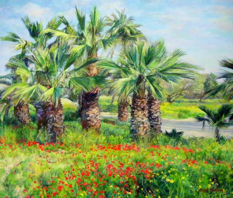 Bukhin Maya Gershevna. Spring, palms and red-orange anemones.